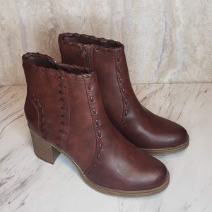 Maurices Joelle Ankle Boots Whip Stitch Brown 9.5